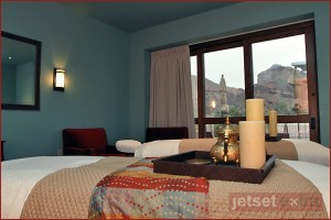The view of Camelback Mountain from the Couples Massage room in Joya Spa at Montelucia Resort