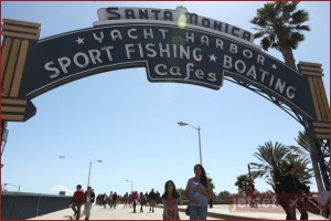 Emma and Olivia at the entrance to Santa Monica Pier