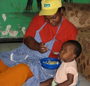 "Feeding babies is one of many tasks for the ""mothers"" at the Calvary Zion Children's Home in Kenya."