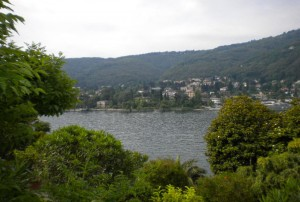 View of Lago Maggiore and surrounding mountains from the island of Isola Bella in northern Italy.