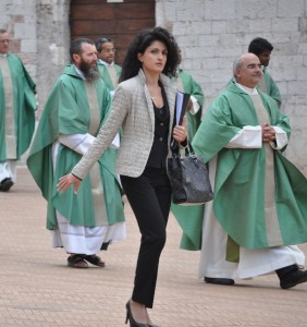 Woman and Procession in Duomo Piazza