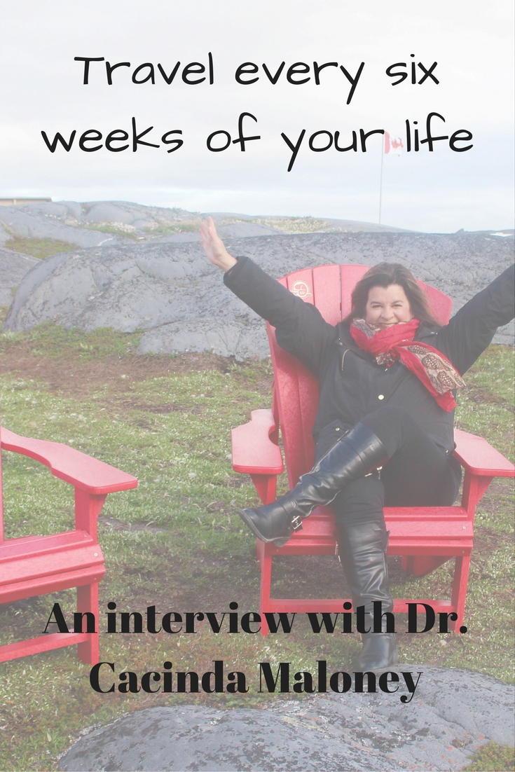Travel every six weeks with Dr. Cacinda Maloney of Points and Travel!