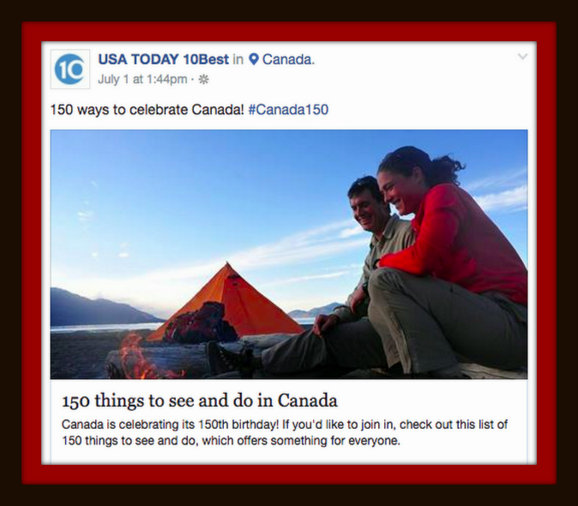 USA Today 10best 150 places to explore #Canada150