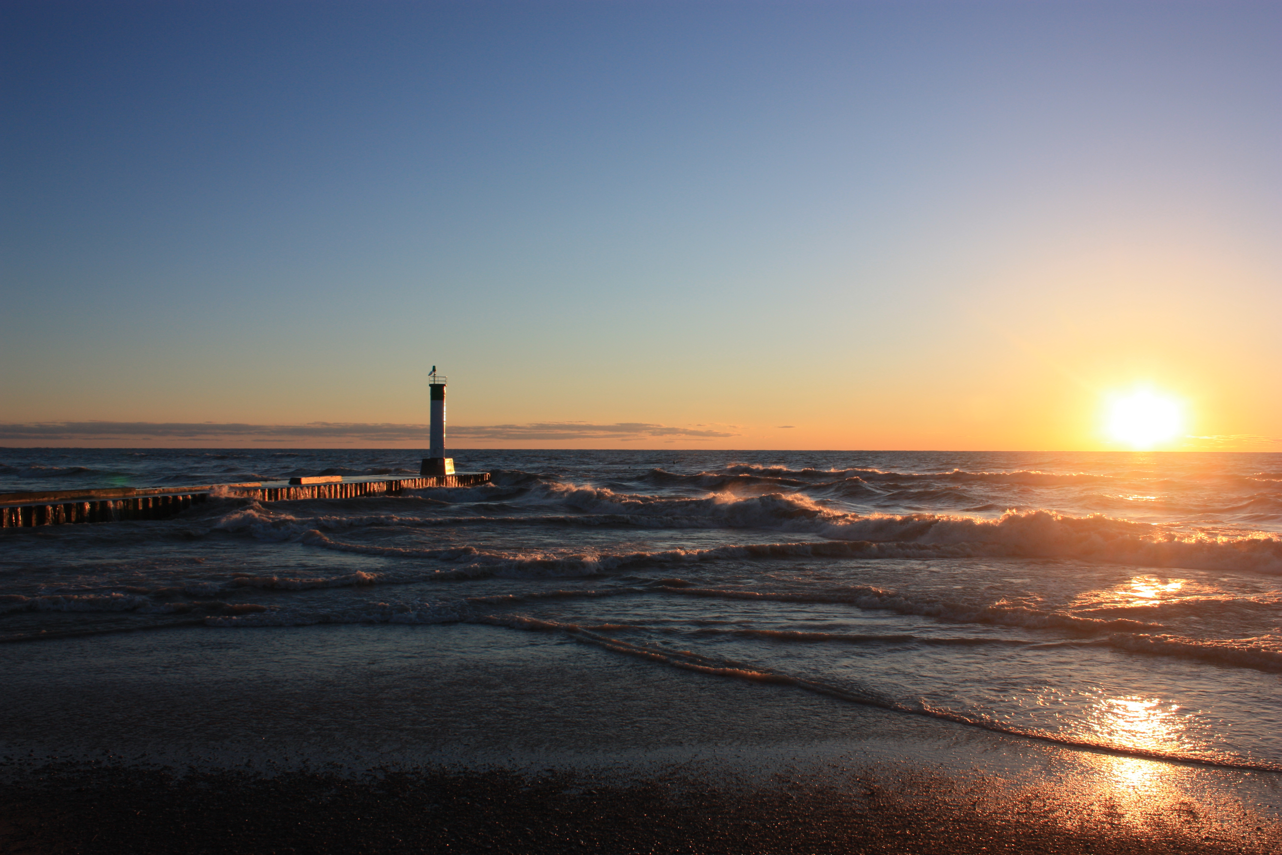 Lighthouse Sunset in Spring in Canada