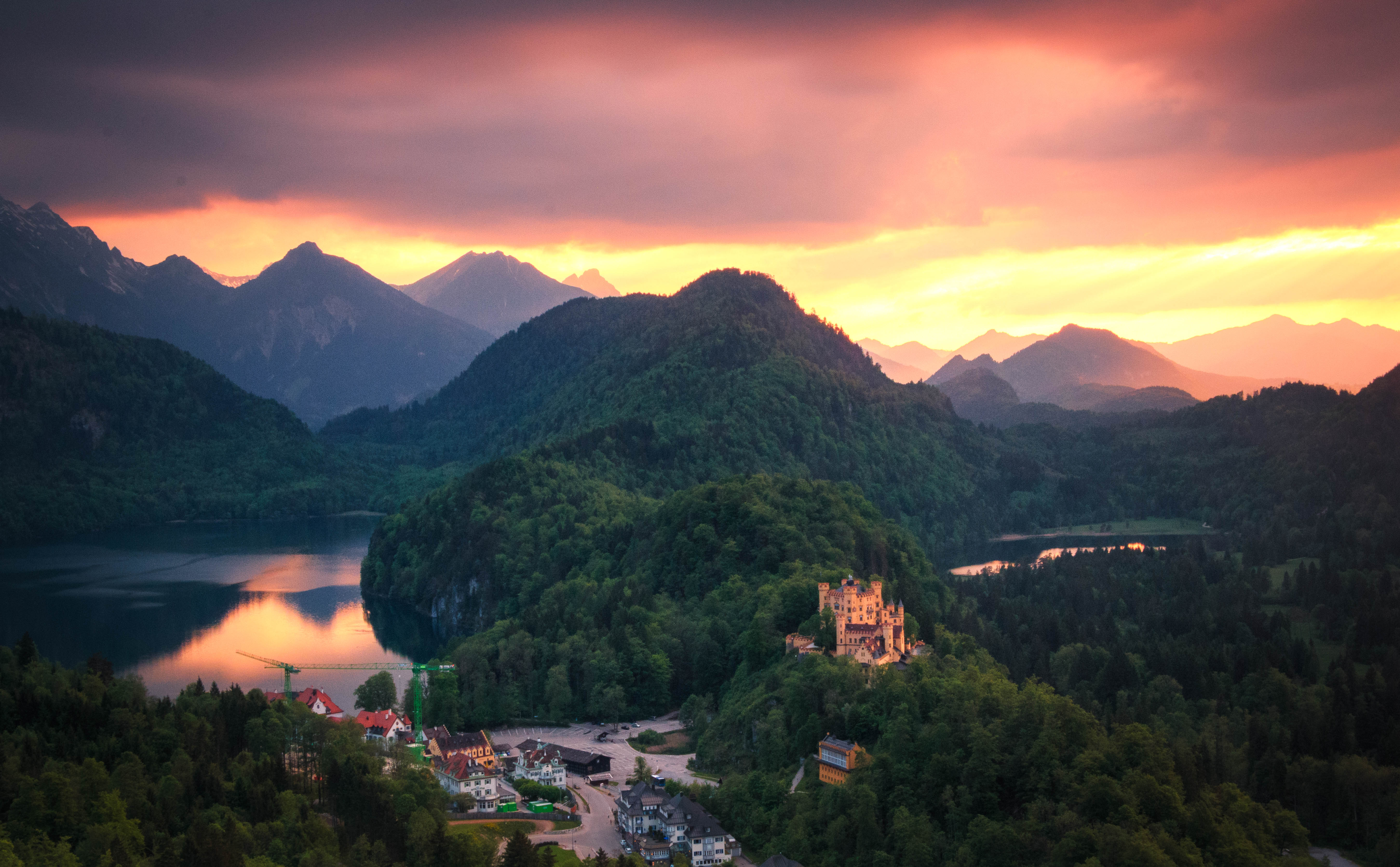 Sunset over the castle on the hill in Germany
