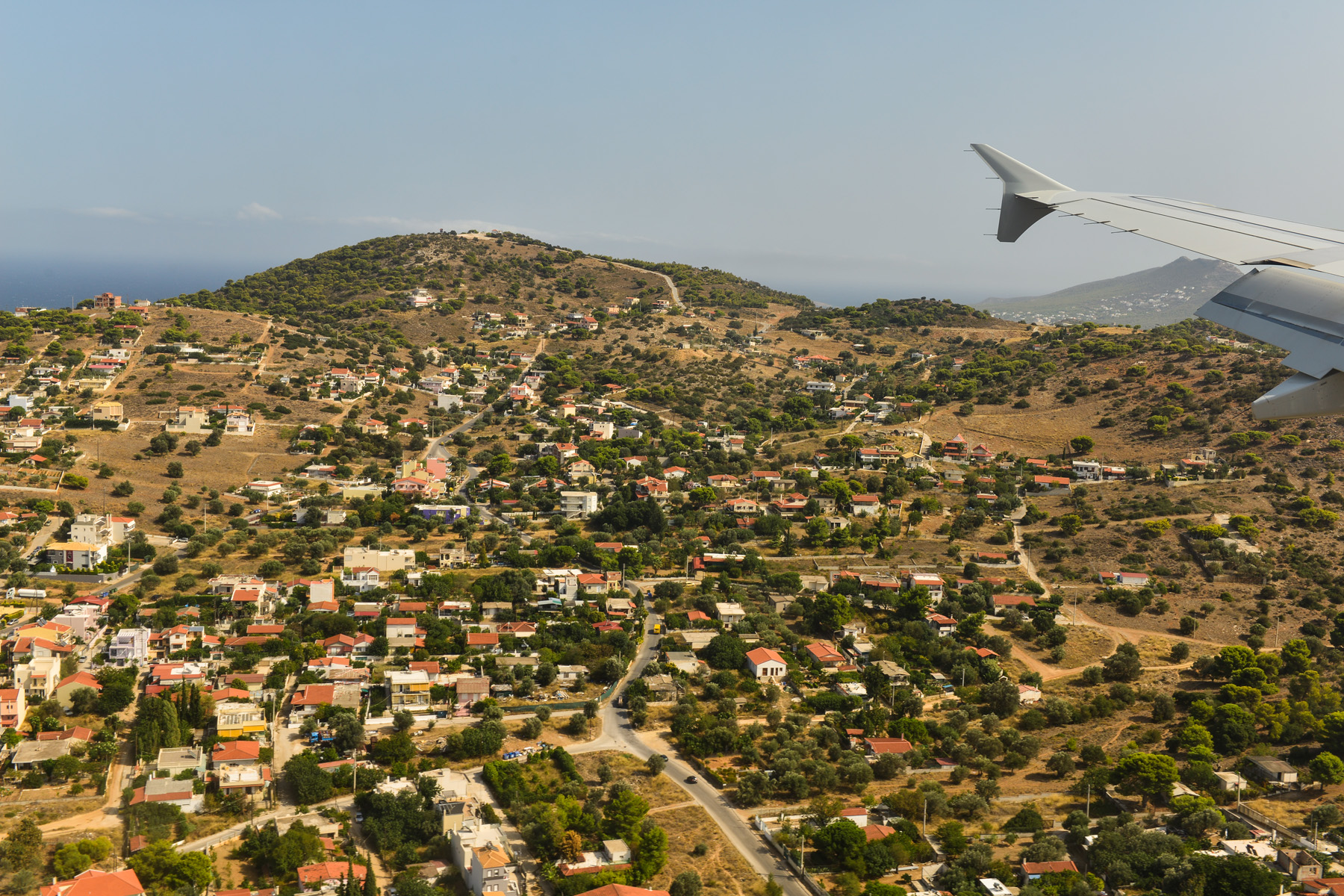 Greece landscape View of Airplane