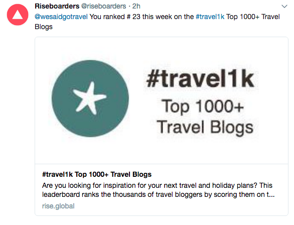 We Said Go Travel is #23 Travel Blog