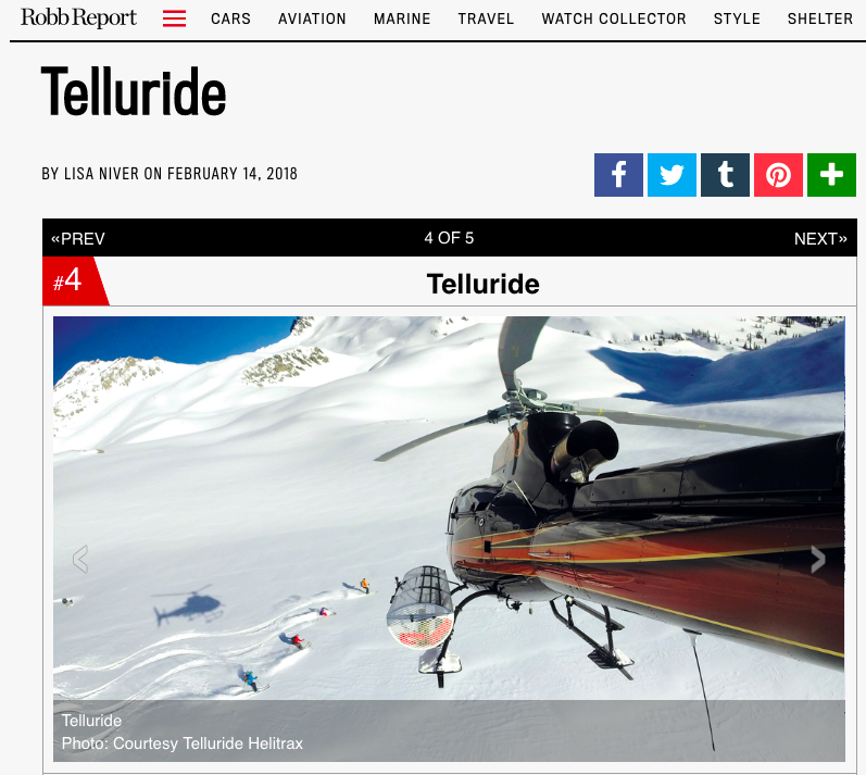 Robb Report: Are You Ready For Your First Heli-Ski Adventure? Telluride