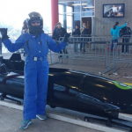 Lisa Niver riding the Olympic Bobsled in Utah