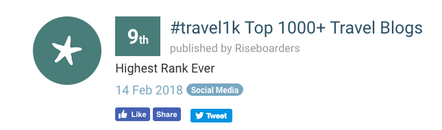 Lisa Niver and We Said GO Travel are #9 on the top 1000 travel blogs