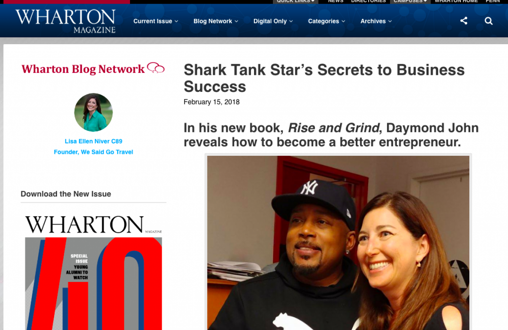 Lisa Niver in Wharton Magazine about Daymond John