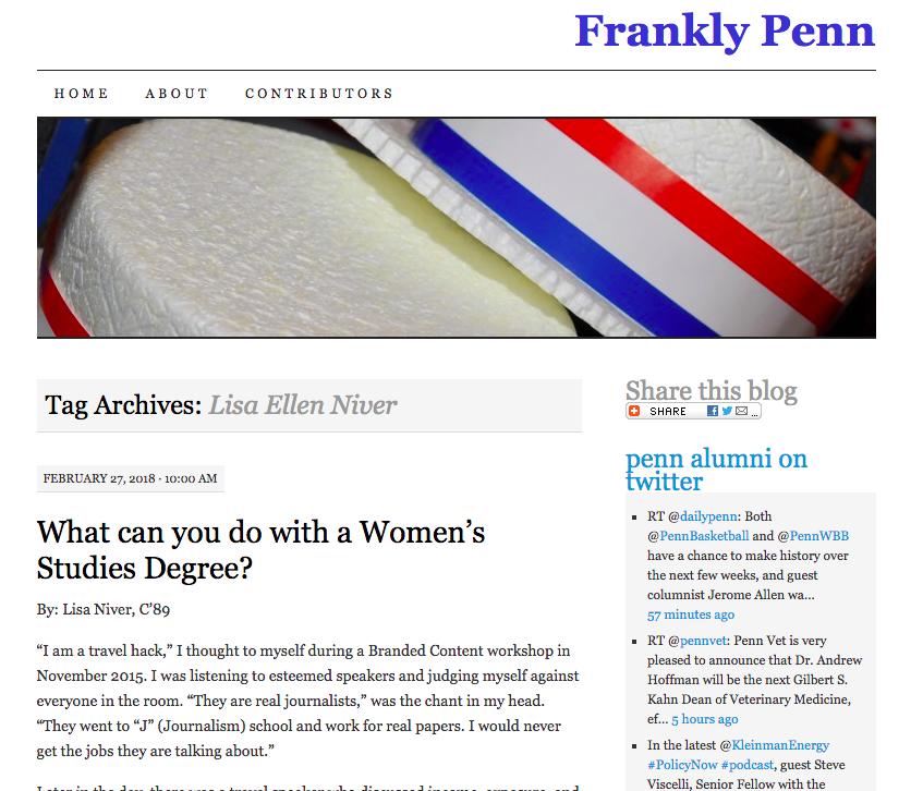 Lisa Niver Frankly Penn Women's Studies Article